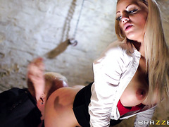 Mean boss bangs hot secretary Loulou in basement