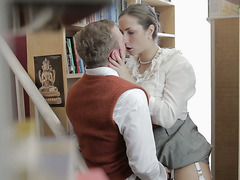 Horny bookworm Paige Turnah seduces her coworker in book store
