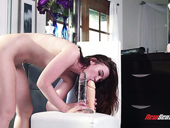 Young and hairy Jodi Taylor is having fun with brutal dildos