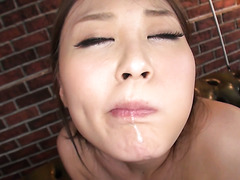 Rena Arai shows off her fascinating holes while sucking dick