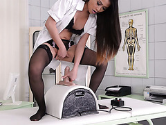 Orgasmic ride on a sybian with Asian nurse PussyKat