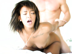 Mocha skin Latina angel Harley Dean gets boned on a shiny morning