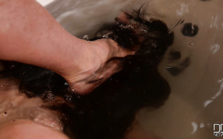Hardcore BDSM style bathing with submissive busty hoe Lucia Love