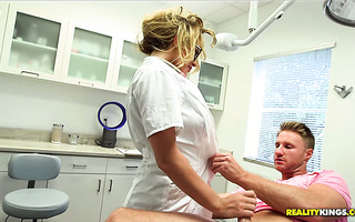 Wild quickie with busty MILF nurse Corinna Blake at the hospital