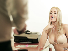 Burning hot Euro secretary Christen Courtney makes her boss happy
