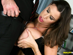 Exceptionally busty MILF Sensual Jane rides and titfucks thick cock
