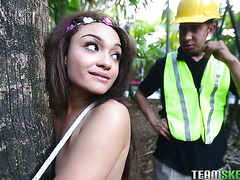 Exotic teen with a phat booty Jaye Austin fucks lumberjack to save her gargen