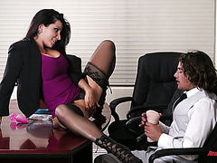 Lady boss Romi Rain orders young dude eat her hungry cunt