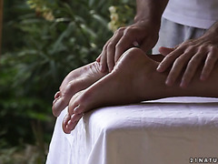 Footjob expert Blanche Bradburry has hot fuck with a masseur