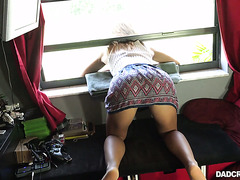 Stuck in a window Avery Brooks gets doggystyle fucked by her stepdad