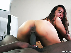 Sasha Yamagucci gets her Asian pussy ripped by big black cock