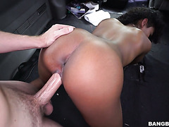 Curly ebony chick Ivy Young got banged by white dude in a BangBus