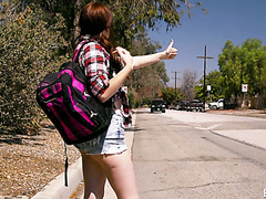 Hitchhiking teen Karlie Brookes gets the dick she deserves