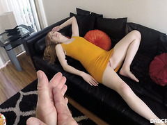 Stepdad talks his drunk ass stepdaughter into sucking his cock in POV