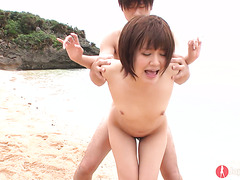 Flat breasted Saya Tachibana takes a creampie on a beach