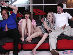 Cute Leigh Rose and Alison Rey have foursome with stepdads on a movie night