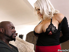 Giant breasted white MILF Alyssa Lynn takes juicy black cock up her fuck hole