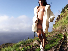 Hot Italian chick Silvia Dellai toys pussy in the mountains