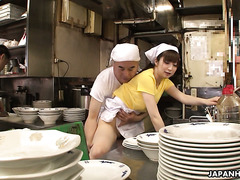 Waitress Mimi Asuka gets fingered and toyed by boss in a busy restaurant