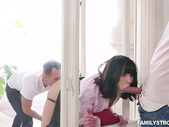 Two guys spit roast their stuck in the window stepmom Amber Chase