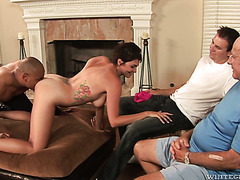 Old perv organizes a cuckold session for Charlie James with a black dude