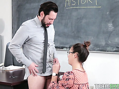 Nasty college girl Geneva King pretends as her own mom to fuck hot teacher