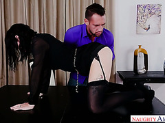 Kinky brunette hoe Olive shakes her ass and fucks on a table