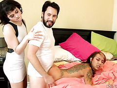 Audrey Noir and her hubby fuck their Asian stepdaughter Kimberly Chi