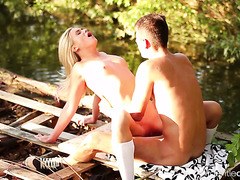 Vinna Reed is making love with her beloved one in the nature's lap