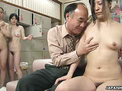 Filthy old man fucks a bunch of Japanese girls in a public bathroom
