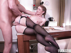 Skinny Russian college girl with pigtails gets fucked by her English tutor