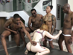 A squad of black thugs is having fun with a redhead white hoe Lauren Phillips