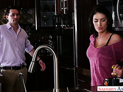 August Ames jumps on neighbor's dick as soon as her hubby goes to work