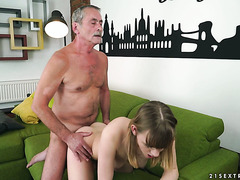 19 y.o. Lucette Nice is getting dicked by a dirty old fart