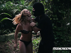 A creepy maniac hunt down teen Raylin Ann in a forest and brutally fucks her