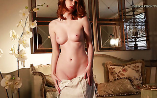 Delightful redhead honey Sarah Anasis shows her naked beauty in erotic solo