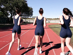 Naughty girls film themselves having lesbian fun after running on a track