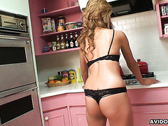 Japanese MILF Rie strips naked and sucks him dry POV style in the kitchen