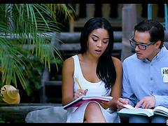 Maya Bijou falls in love with a nerd and fucks him