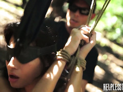 Jade Jantzen gets tied up and fucked rough in a forest