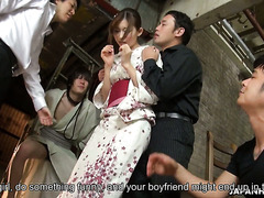 Natsume Inagawa gets fucked by yakuzas in front of her boyfriend