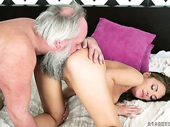 Filthy old man enjoys Dominica Phoenix's fresh Russian pussy