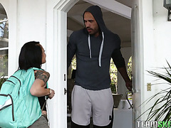 "4'10"" college girl Holly Hendrix gets ass banged by her beefy neighbor"