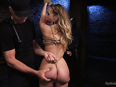 Phat ass Harley Jade gets rope bondaged and viciously fucked