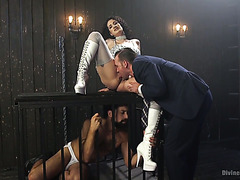 Submissive cuckold watches his mistress Arabelle Raphael getting fucked hard
