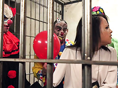 Police chick Holly Hendrix survives bizarre and yet hilarious gangbang by evil clowns in jail