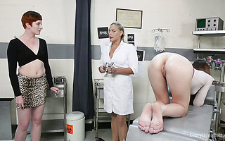 Audrey Holiday & Rosie get ass toyed and fisted by gynecologist Angel Allwood