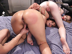 Phat ass slave chicks Syren De Mer & Katy Kiss get whipped and doggystyle fucked