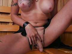 Unexpected fuck at the sauna with thick Arabelle Raphael and hot tranny Tori Mayes