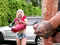 Petite Kenzie Reeves is ambushed by her bf on parking lot disguised as a robber
